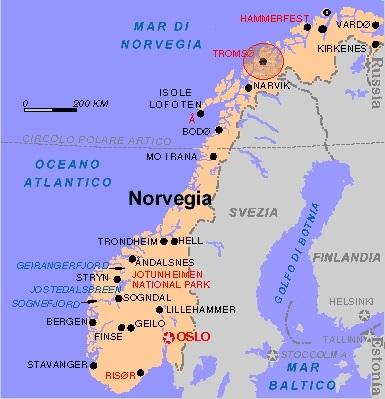 Cartina Geografica Norvegia Fisica.Capodanno A Tromso E Aurora Boreale Volo Incluso